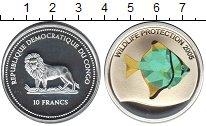 Изображение Монеты Конго 10 франков 2005 Серебро Proof- Защита дикой природы