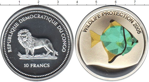 Картинка Монеты Конго 10 франков Серебро 2005