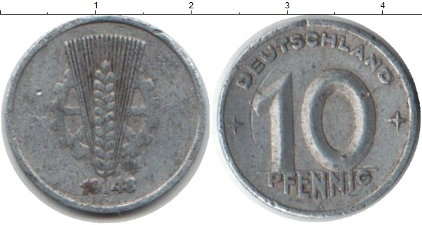 Картинка Монеты ГДР 10 пфеннигов Алюминий 1948