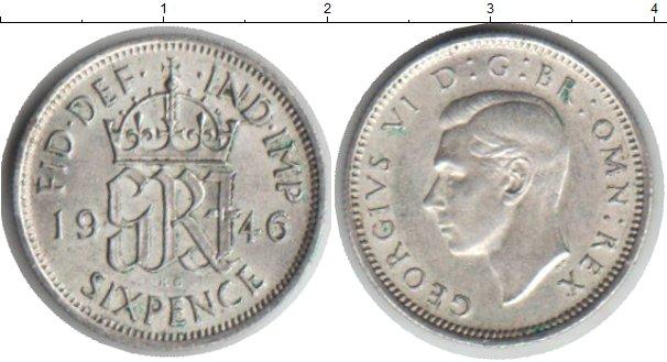 Картинка Монеты Великобритания 6 пенсов Серебро 1946