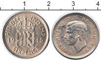 Монета Великобритания 6 пенсов Серебро 1945 XF фото