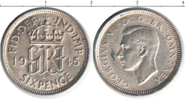 Картинка Монеты Великобритания 6 пенсов Серебро 1945
