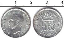 Изображение Монеты Великобритания 6 пенсов 1945 Серебро UNC- Георг VI