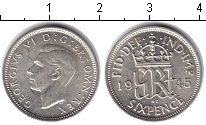 Изображение Монеты Великобритания 6 пенсов 1945 Серебро XF