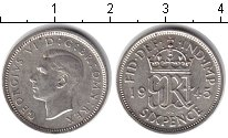 Изображение Монеты Великобритания 6 пенсов 1945 Серебро UNC-