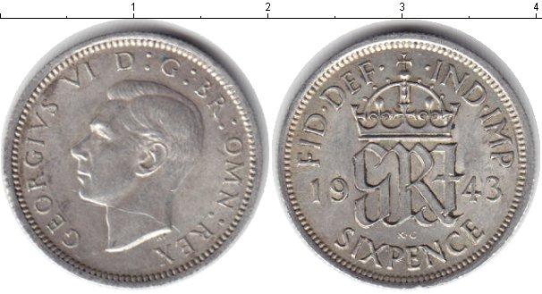 Картинка Монеты Великобритания 6 пенсов Серебро 1943