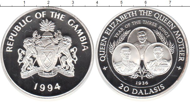 Картинка Монеты Гамбия 20 даласи Серебро 1994