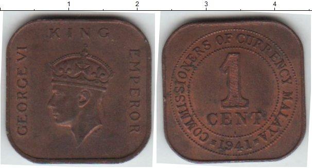 Картинка Монеты Малайя 1 цент Медь 1941