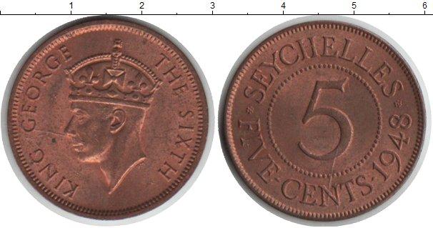 Картинка Монеты Сейшелы 5 центов  1948