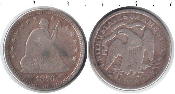 Картинка Монеты США 1/4 доллара Серебро 1876