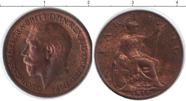 Картинка Монеты Великобритания 1 фартинг  1919