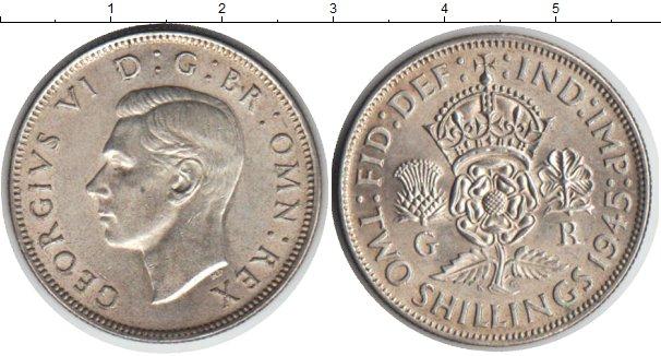 Картинка Монеты Великобритания 2 шиллинга Серебро 1945