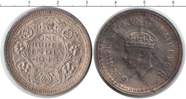 Картинка Монеты Индия 1 рупия Серебро 1945