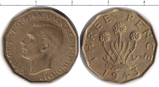 Картинка Монеты Великобритания 3 пенса  1943