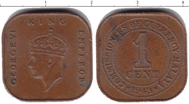 Картинка Монеты Малайя 1 цент  1943
