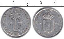 Изображение Монеты Бельгийское Конго 1 франк 1960 Алюминий XF Пальма