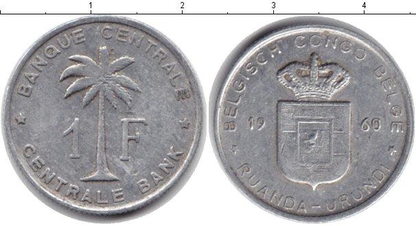 Картинка Монеты Бельгийское Конго 1 франк Алюминий 1960
