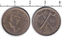 Изображение Монеты Родезия 6 пенсов 1950 Медно-никель XF Георг VI