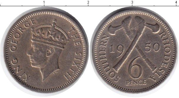 Картинка Монеты Родезия 6 пенсов Медно-никель 1950