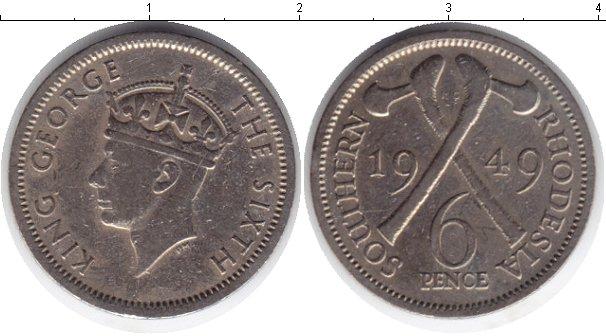 Картинка Монеты Родезия 6 пенсов Медно-никель 1949