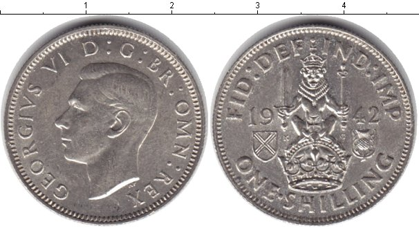 Картинка Монеты Великобритания 1 шиллинг Серебро 1942