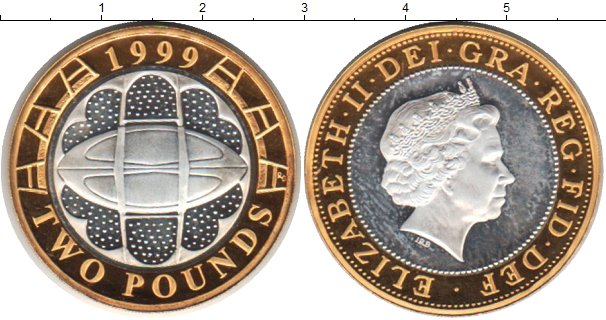 Картинка Монеты Великобритания 2 фунта Биметалл 1999