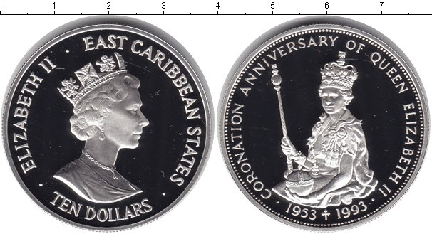 Картинка Монеты Карибы 10 долларов Серебро 1993