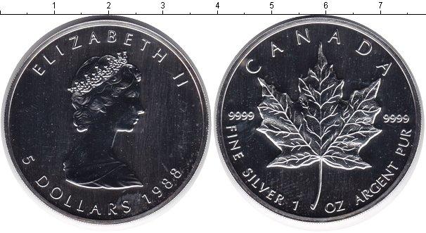 Картинка Монеты Канада 5 долларов Серебро 1988