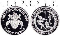 Изображение Монеты Теркc и Кайкос 20 крон 1992 Серебро Proof Олимпийские игры 199