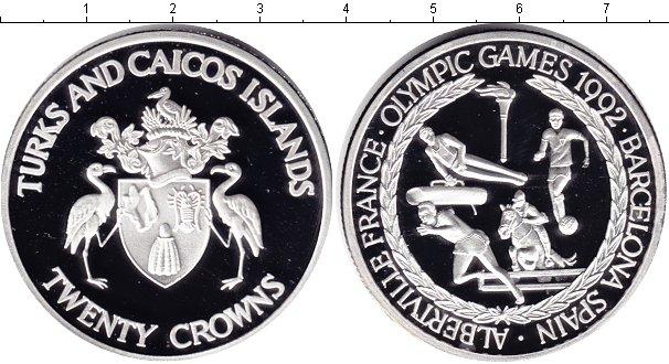 Картинка Монеты Теркc и Кайкос 20 крон Серебро 1992