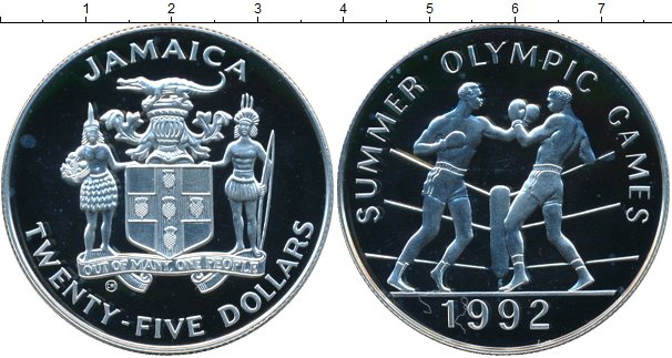 Картинка Монеты Ямайка 25 долларов Серебро 1992