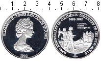 Изображение Монеты Теркc и Кайкос 20 крон 1992 Серебро Proof 500-летие открытия К