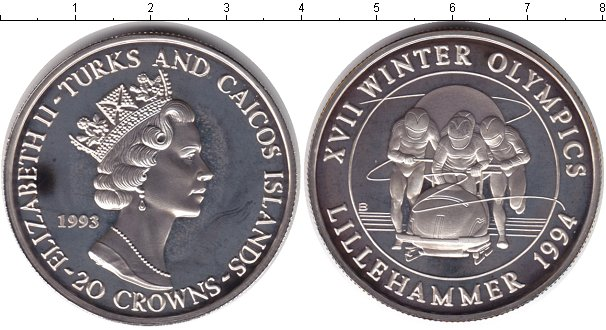 Картинка Монеты Теркc и Кайкос 20 крон Серебро 1993