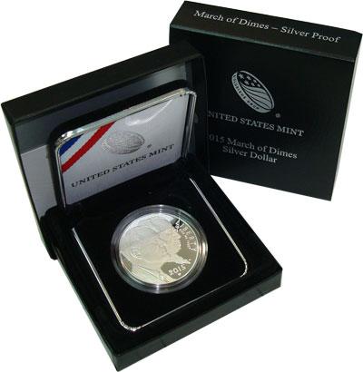 Изображение Подарочные монеты США 1 доллар 2015 Серебро Proof Представляем Вашему