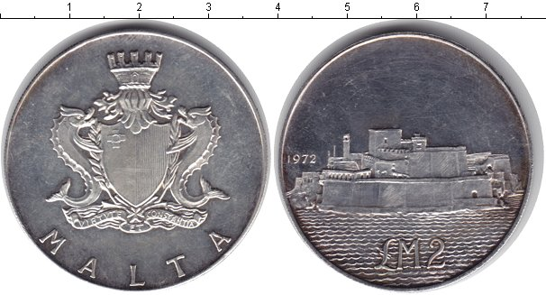 Картинка Монеты Мальта 2 фунта Серебро 1972