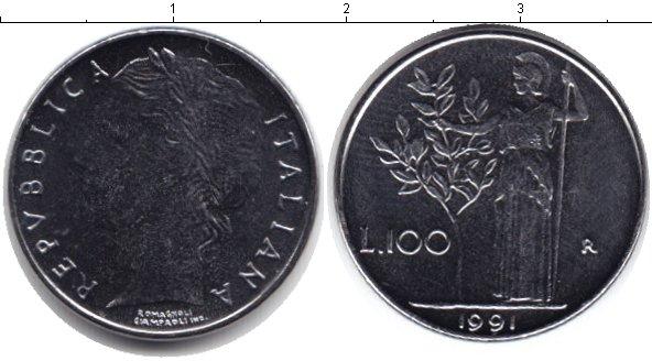 Картинка Монеты Италия 100 лир Медно-никель 1991