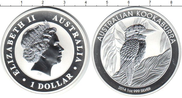 Картинка Монеты Австралия 1 доллар Серебро 2014