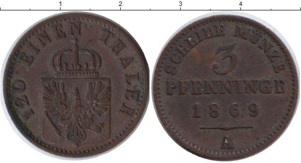 Картинка Монеты Пруссия 3 пфеннига Медь 1869