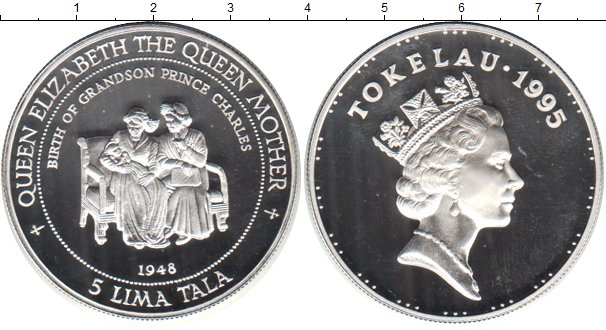 Картинка Монеты Токелау 5 тала Серебро 1995