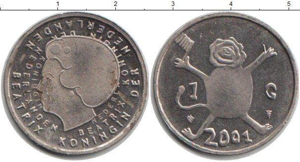 Картинка Мелочь Нидерланды 1 гульден Медно-никель 2001