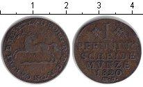 Изображение Монеты Брауншвайг-Вольфенбюттель 1 пфенниг 1820 Медь XF