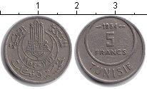 Изображение Монеты Тунис 5 франков 1954 Медно-никель XF
