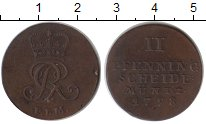 Изображение Монеты Брауншвайг-Люнебург-Каленберг-Ганновер 2 пфеннига 1798 Медь XF Георг III