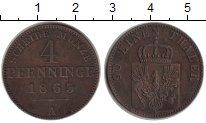 Изображение Монеты Пруссия 4 пфеннига 1863 Медь XF
