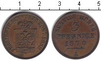 Изображение Монеты Шварцбург-Зондерхаузен 3 пфеннига 1870 Медь XF