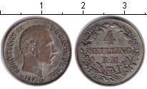 Изображение Монеты Дания 4 скиллинга 1872 Серебро VF Кристиан IX