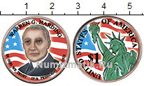 Изображение Цветные монеты США 1 доллар 2014  UNC 29-й президент. Уорр
