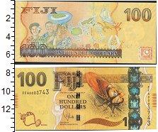 Изображение Боны Фиджи 100 долларов 0  UNC Карта островов Фиджи
