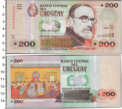 Картинка Банкноты Уругвай 200 песо  2009