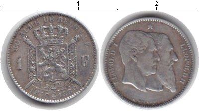 Картинка Монеты Бельгия 1 франк Серебро 1880